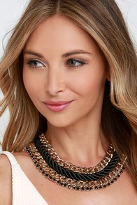 Rope Swing Black and Gold Statement Necklace at Lulus.com!
