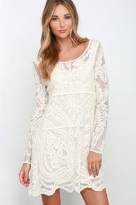 Black Swan Heidi Cream Lace Long Sleeve Dress at Lulus.com!
