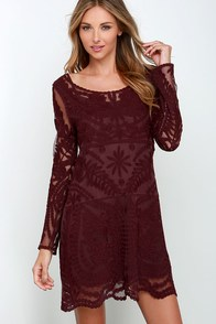 Black Swan Heidi Burgundy Lace Long Sleeve Dress $103.00 AT vintagedancer.com