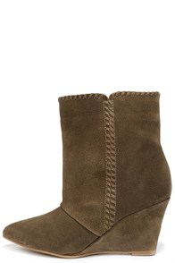 Charles by Charles David Naya Tobacco Brown Suede Wedge Booties at Lulus.com!