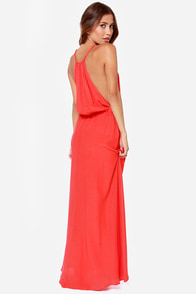 Drape Shifter Coral Red Maxi Dress at Lulus.com!