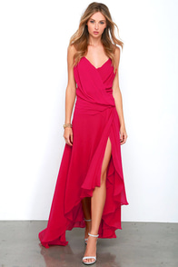 Romantic Rendezvous Berry Red High-Low Dress at Lulus.com!