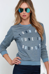 Rhythm Tune In Heather Blue Sweatshirt at Lulus.com!