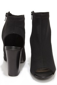 Bamboo Abbatha 01 Black Mesh Peep Toe Booties at Lulus.com!