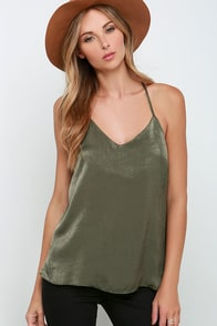 Fortune Stellar Olive Green Satin Tank Top at Lulus.com!