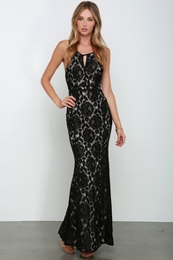 Dazzle Me Black Lace Maxi Dress at Lulus.com!