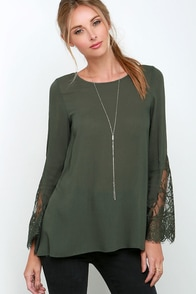 Watching the Waves Olive Green Long Sleeve Lace Top at Lulus.com!