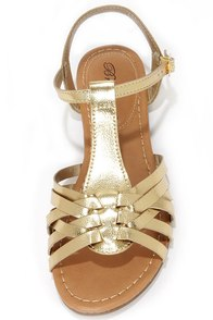 Jill 22 Gold Woven Flat Sandals at Lulus.com!