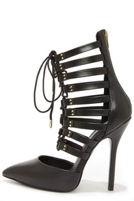 Steve Madden Sts Black Leather Lace-Up Heels at Lulus.com!