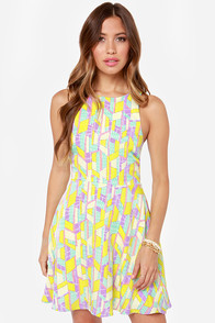 Kept Captivated Chartreuse Print Dress at Lulus.com!