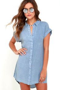 Keeping Cool Washed Blue Shirt Dress at Lulus.com!