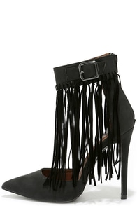 Fringe by Fringe Black Pointed Heels at Lulus.com!