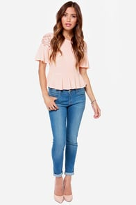 Thrill of the Lace Blush Lace Top at Lulus.com!