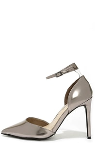 Starlet Power Pewter Ankle Strap Pumps at Lulus.com!