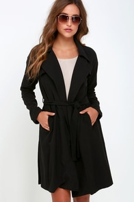 Astaire-ing Off Into Space Black Trench Coat at Lulus.com!
