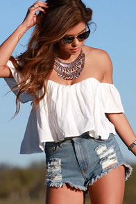 Road Traveler White Crop Top at Lulus.com!