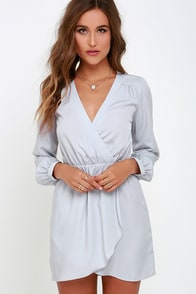 That's a Wrap Light Grey Long Sleeve Dress at Lulus.com!