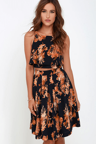State of Dreaming Navy Blue Print Two-Piece Dress at Lulus.com!