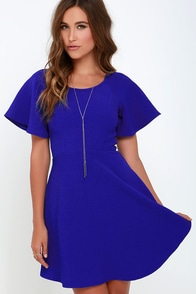 Flounce About It Cobalt Blue Dress at Lulus.com!