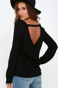 Knit a Chance Black Backless Sweater at Lulus.com!