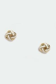 Loop de Loop Gold and White Earrings at Lulus.com!