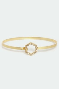 Hexagon for Good Gold Rhinestone Bracelet at Lulus.com!