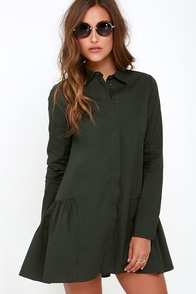 Beneath a Canopy Dark Green Long Sleeve Dress at Lulus.com!