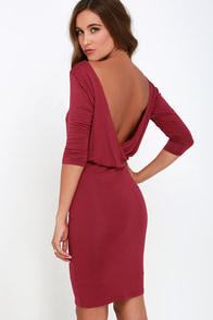 All or Nothing Wine Red Backless Dress at Lulus.com!