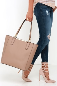 Just Touched Down Beige Tote at Lulus.com!
