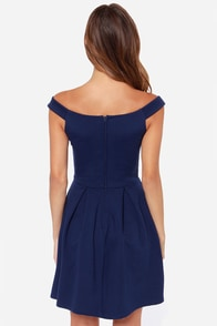 LULUS Exclusive Be Direct Off-the-Shoulder Navy Blue Dress at Lulus.com!