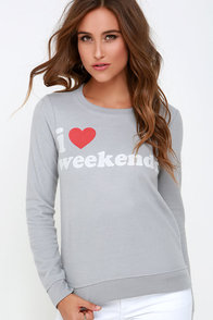 Chaser I Love Weekends Light Grey Sweater at Lulus.com!