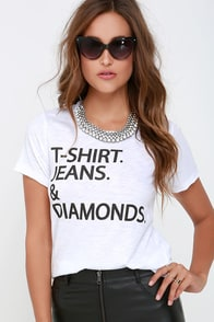 Chaser T-Shirt Jeans and Diamonds Ivory Tee at Lulus.com!