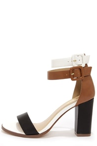 Soda Isa Black, Tan, and White Ankle Strap Heels at Lulus.com!