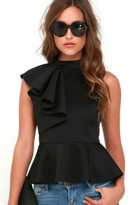 Forever More Black Peplum Top