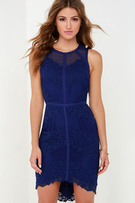 Starring Role Indigo Lace Dress at Lulus.com!