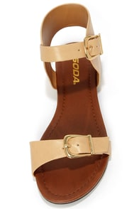 Soda Klim Natural Ankle Cuff Sandals at Lulus.com!