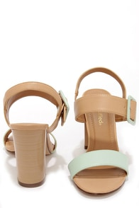 City Classified Care Mint and Natural High Heel Sandals at Lulus.com!