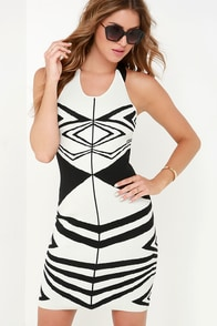 Alluring Illusion Black and White Print Dress at Lulus.com!