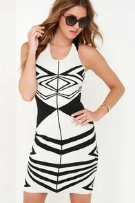 Alluring Illusion Black and White Print Dress at Lulus.com!