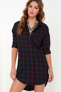 Steady Upswing Red and Navy Blue Plaid Shirt Dress at Lulus.com!