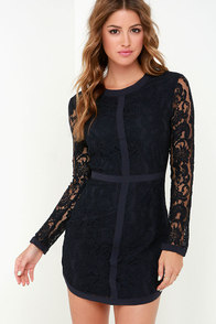 Sweet as Sugar Navy Blue Long Sleeve Lace Dress at Lulus.com!