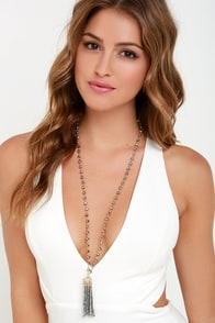Gather 'Round Gunmetal Beaded Necklace at Lulus.com!