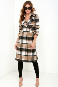 Mountain Venture Brown Plaid Coat at Lulus.com!