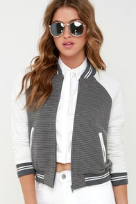 Ballpark Babe Grey and White Baseball Jacket at Lulus.com!