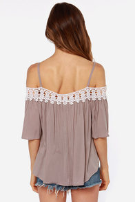 LULUS Exclusive In Full Swing Taupe Lace Top at Lulus.com!