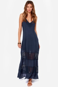 Stay True Crochet Navy Blue Maxi Dress at Lulus.com!