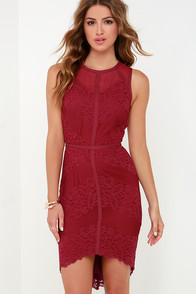 Starring Role Wine Red Lace Dress at Lulus.com!