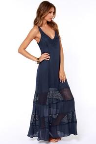 Stay True Crochet Navy Blue Maxi Dress at Lulus.com!