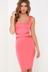 By My Side Coral Pink Lace Midi Dress at Lulus.com!