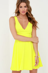 Sublime Time Chartreuse Skater Dress at Lulus.com!